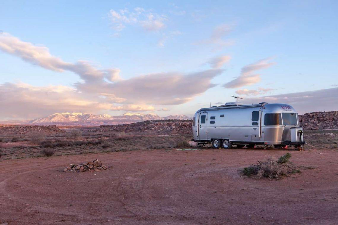Travel Trailer Parked in Desert