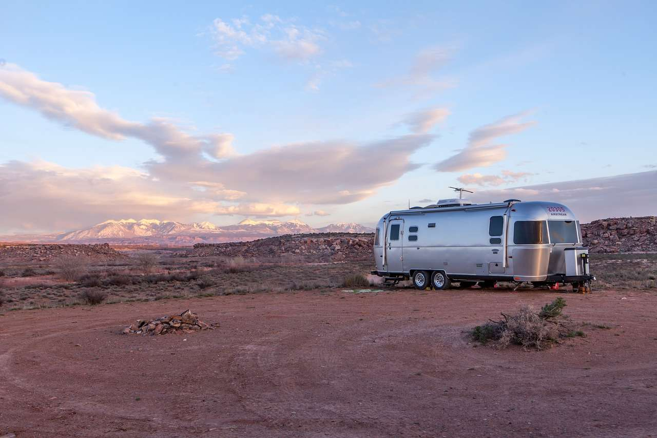 Travel Trailer Parked in Desert