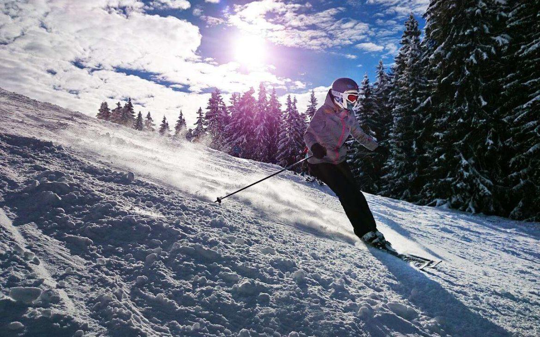 Girl Skiing in Swiss Alps