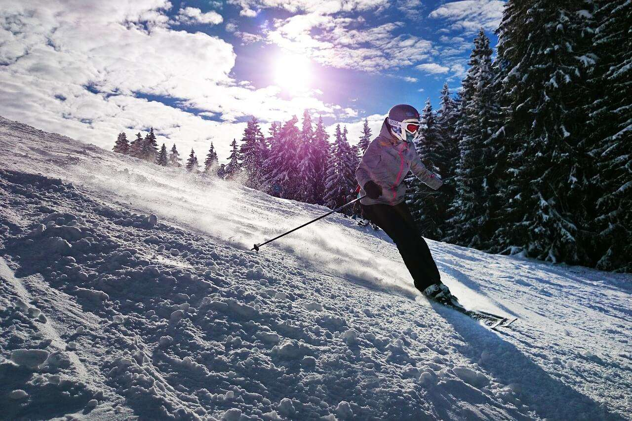Girl Skiing in Swiss Alps